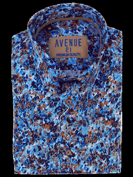 Men's navy blue and tan color strokes silk feel short sleeve Ave21 shirt