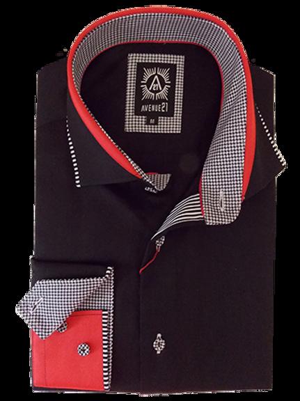 Men's Black & Red Long Sleeves Ave21 Trendy Shirt
