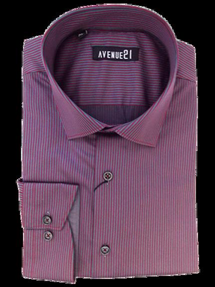 Men's luxurious wine & charcoal fine stripes Ave21 long sleeve shirt