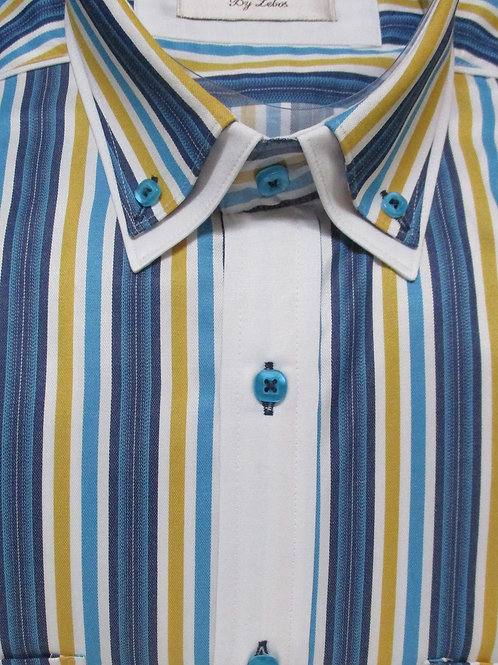 Men's Sartoria De Lebos double collar teal & yellow striped long sleeve shirt