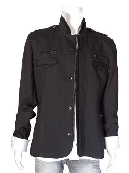Men's Black RNT Trendy Jacket With Zippers
