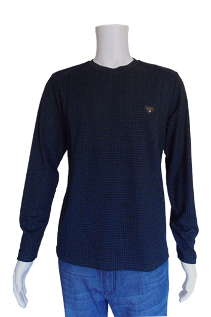 Men's European Houndstooth with Navy patches Slim Fit Top
