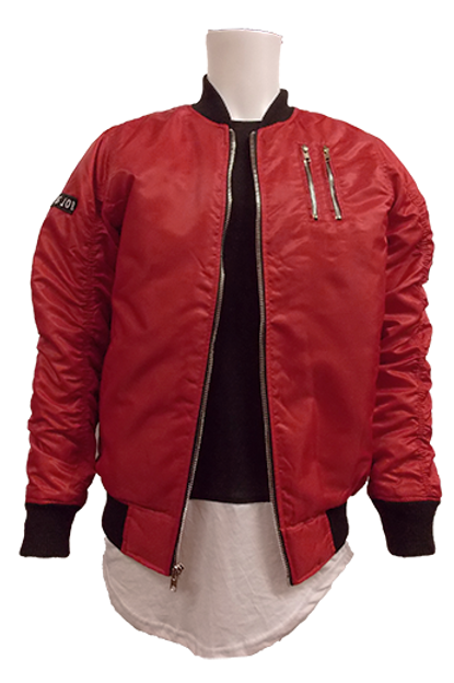 Men's Red Aviator Bomber Jacket Bomber