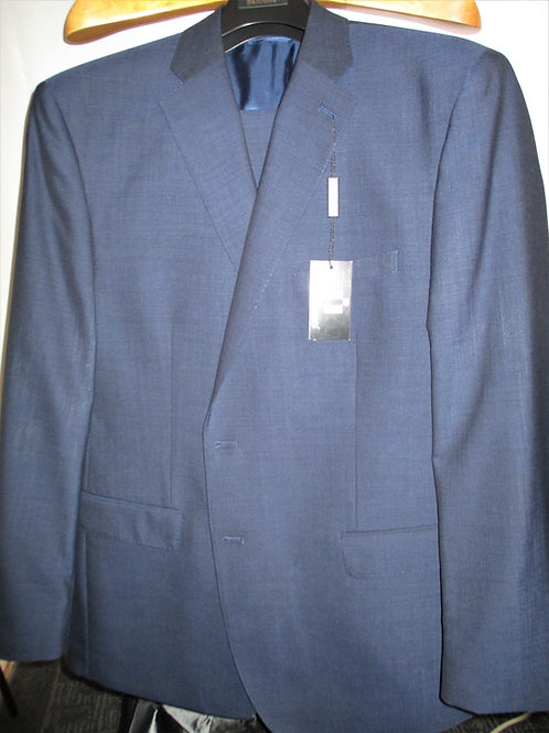 Men's Cadet Blue Sharkskin 2pcs Wool Suit
