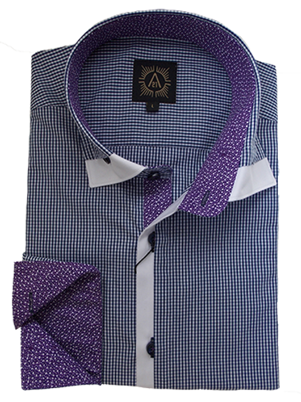 Men's Navy & White Small Checks With Purple Contrast Ave21 Trendy Shirt
