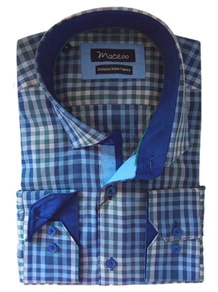 Men's Blue & Green Check Maceoo Paris Trendy shirt