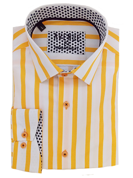 Men's yellow and white striped with black & white polka dots long sleeve shirt