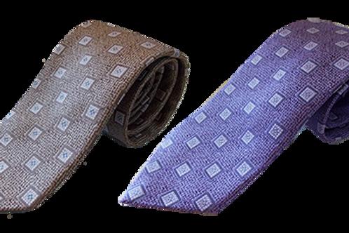 Modern Geometric Silk Italian Neckties In Lavender & Beige