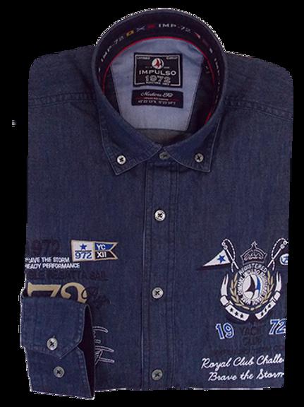 Men's Blue Denim  Embroidered Casual Italian Impulso Shirt
