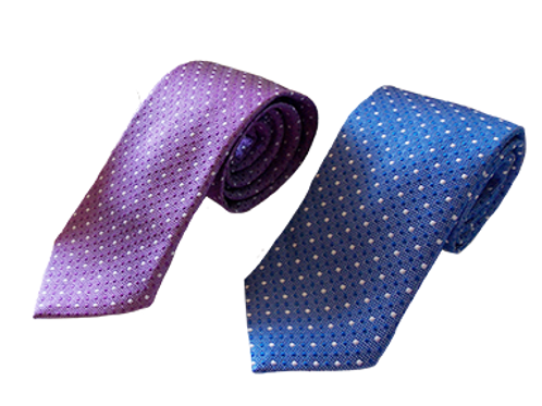 Polka Dots Silk Italian Neckties in Electric Blue and Lavender