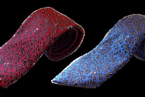Leaf Design Silk Italian Necktie in Red & Blue combination