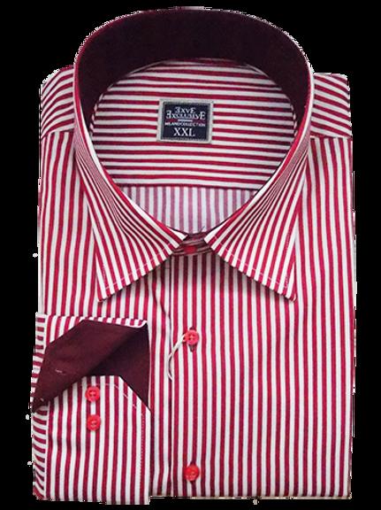 Men's red & white striped long sleeve shirt