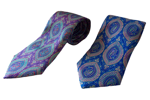 Paisley Print Italian Necktie in Blue & Purple combinations