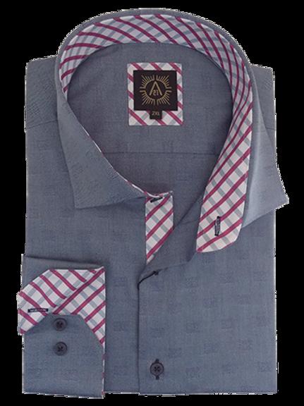 Men's Ocean Blue Squares Jacquard Long Sleeves Ave21 Trendy Shirt