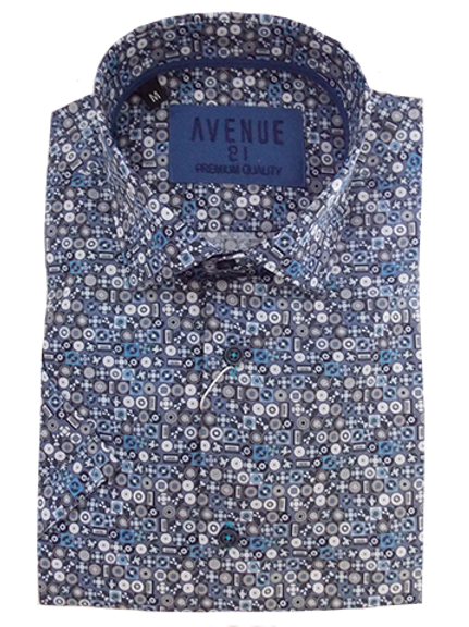 Men's fun discs & CDs fine pattern blue, white & black short sleeve shirt