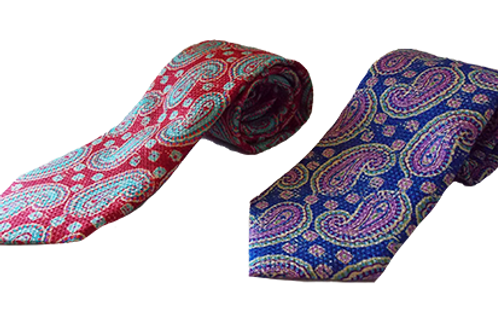 Royal Blue & Red Colorful Paisley Print Silk Italian Necktie