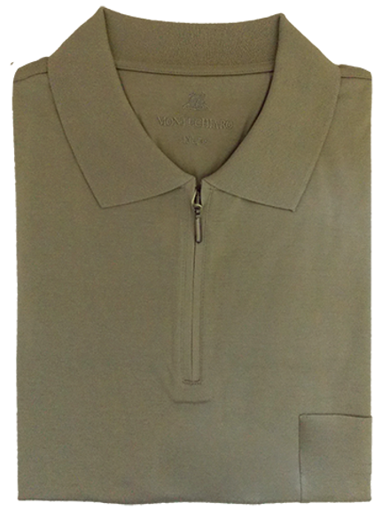 Khaki Montechiaro Luxury Cotton Italian Zip up Polo