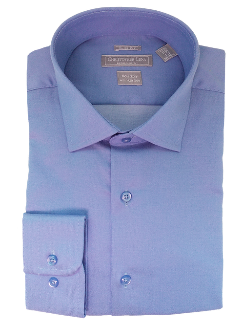 Men's Cornflower Blue Twill Slim Fit Dress Shirt