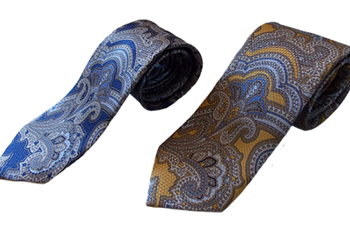 Modern Paisley Silk Neckties in Yellow and Blue