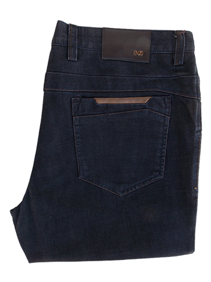 Men's Enzo Dark Denim Comfort Fit Pants with Camel Accents