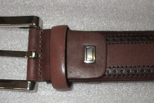 Men's Italian Medium Brown Perforated Edge Calf Leather Belt