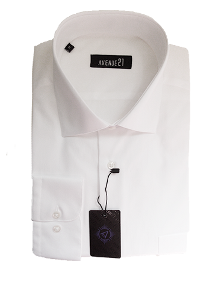 Men's White Slim Fit Ave21 Dressy Shirt