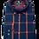 Thumbnail: Men's Ruben's navy & red plaid long sleeve super slim fit shirt