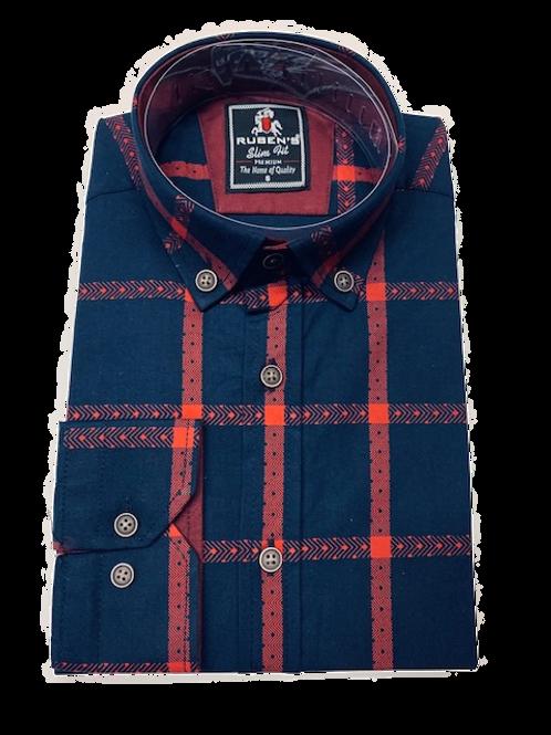 Men's Ruben's navy & red plaid long sleeve super slim fit shirt