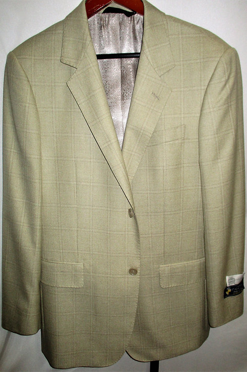 Men's Tan & Brown Glen Plaid Wool & Silk  Sport Jacket
