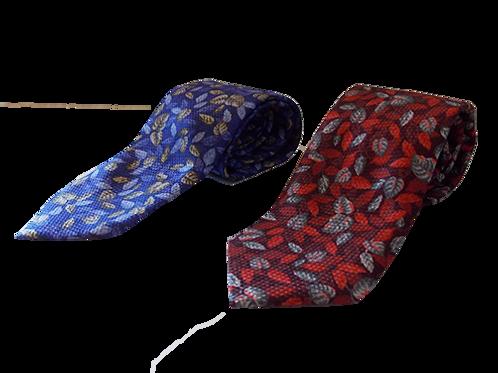 Modern Leaf Nature inspired Silk Italian Necktie in Red & Blue