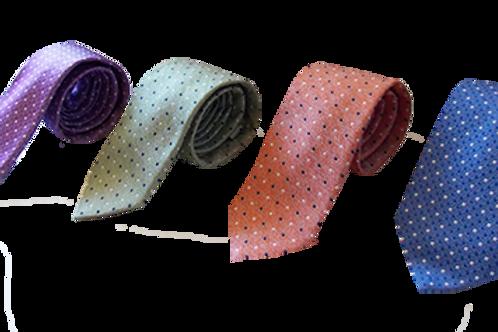 Modern Polka Dots Silk Italian Neckties in Mint Green, Lavender, Blue & Orange