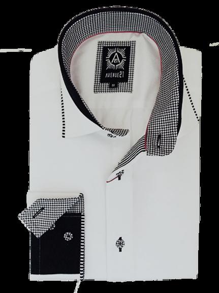 Men's White & Black Long Sleeves Ave21 Trendy Shirt