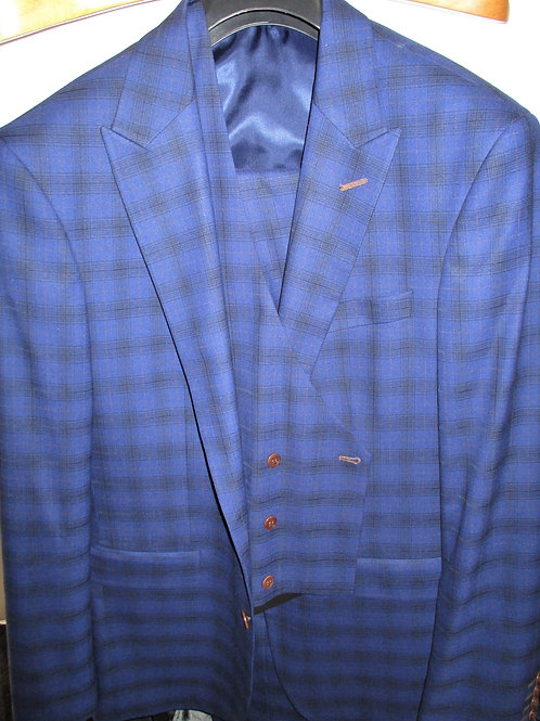 Men's Royal Blue Tan and Black Glen Plaid 3 Pcs Slim Fit Suit