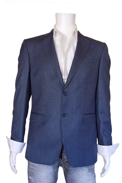 Men's French Blue ItalUomo Solid Wool & Silk Suit Jacket