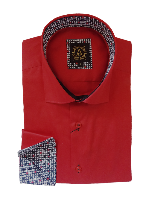 Men's Fabulous Red Ave21 With Contrast Accents Slim Fit Trendy Shirt