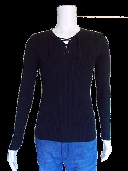 Men's Black Slim Fit Rivets and Laces Long Sleeve Cotton Trendy Top