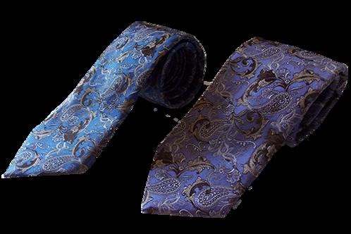 Modern Paisley Silk Italian Neckties in Lavender & Blue