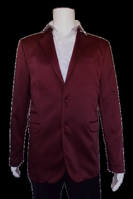 Men's Wine Satin Dressy RNT Jacket