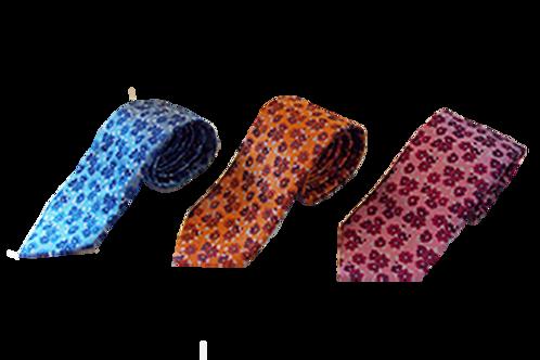 Floral Design Italian Silk Necktie available in Blue, Pink, Orange & Beige