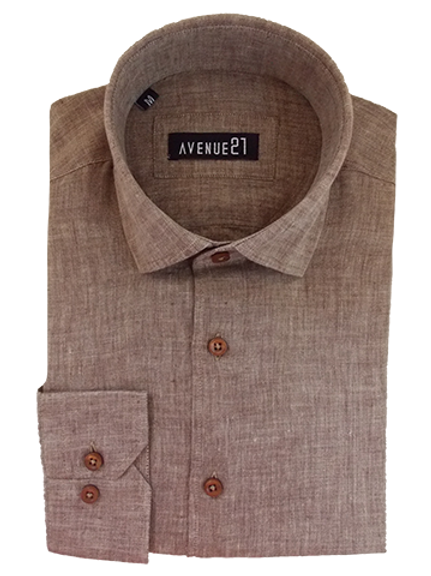 Men's Light Brown Ave21 European Linen Shirt