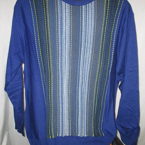 Men's Cobalt Blue With Yellow & White Stripes Montechiaro Italian Sweater