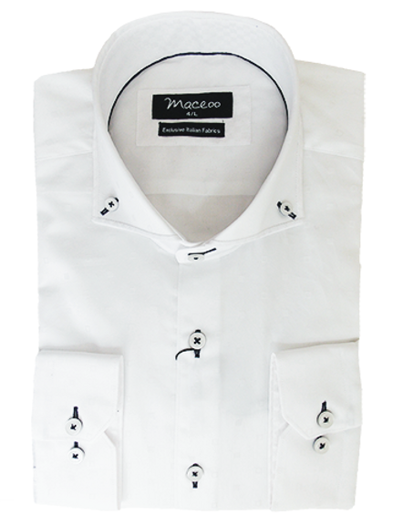Men's White & Tonal Small Squares Maceoo Paris  European Dress Shirt