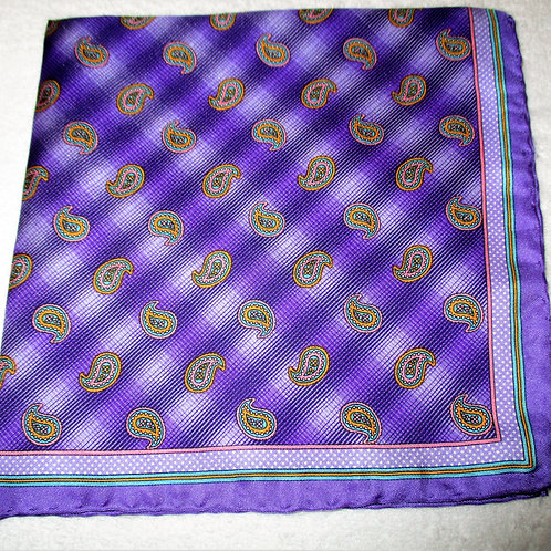 Square Purple Paisley Silk Pocket Square