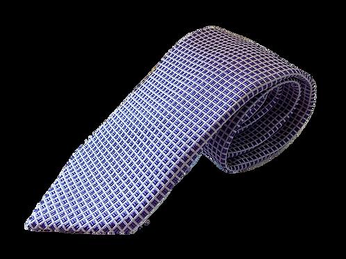 Lavender & White Squares Design Silk Italian Necktie