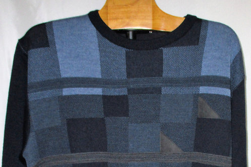Men's Gray Blue & Navy Checkered Italian Montechiaro Sweater with Suede Patches