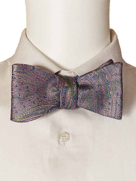 Purple Blue Green Self-tie Jacquard Silk Bowtie