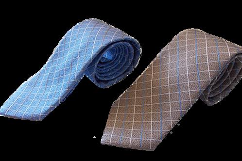 Checkered Silk Italian Neckties in Light Blue and Beige