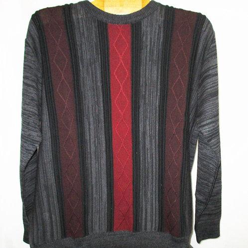 Men's Black Gray & Burgundy Italian Montechiaro Striped Sweater