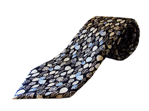 Men's Black & Gold Leaf Pattern Italian Silk Tie