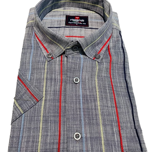 Men's Rigardi gray with  stripes short sleeve chest pocket cotton shirt